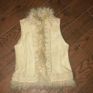 Tory Burch leather lambs wool vest